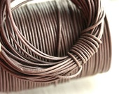 1mm Round Natural Leather cord - Vintage Taupe - 10 feet, LC043