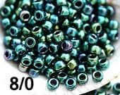 TOHO Seed beads, size 8/0, Higher Metallic June Bug, N 506, emerald green japanese seed beads - 10g - S864