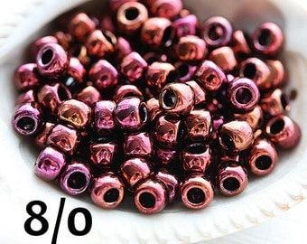 Maroon seed beads, TOHO Seed beads, size 8/0, Higher-Metallic Amethyst N 502, rocailles, japanese glass beads - 10g - S804