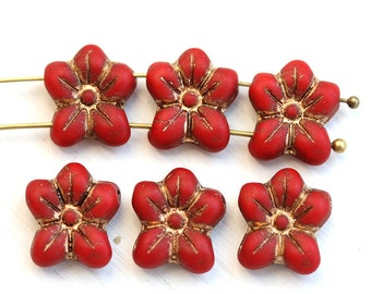 Two Hole flower beads, Red czech glass Five petal flower, Old Patina Inlays, 2 hole - 6pc - 14mm - 2134