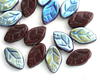 25pc Dark Brown leaves, AB finish, Czech glass pressed leaf beads, luster, 12x7mm - 2113