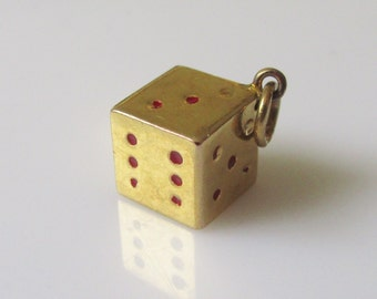 9ct gold Lucky Dice Enamel Charm