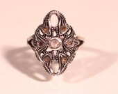 Antique Victorian Sterling Ring Ancient Rose Cut Diamonds Antique Engagement Ring Size 7 US