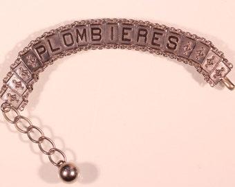 Antique Bracelet Silver Plate Bracelet Antique DangleBracelet Adjustable Bracelet Souvenir Bracelet  French Victorian Jewelry