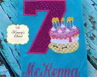 Shopkins Birthday Cake Appliqued Shirt