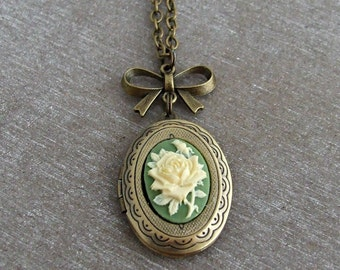 Green Rose Locket .. cameo locket, rose necklace, Victorian locket, oval locket
