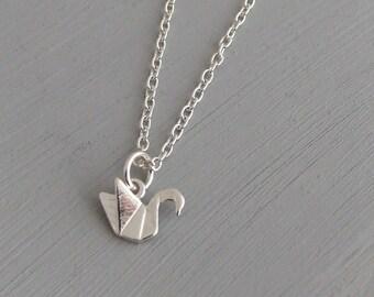 Swan Necklace .. swan pendant, sterling silver pendant, silver jewellery, origami pendant, tiny pendant, animal jewellery