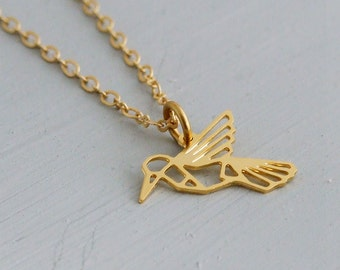 Hummingbird Necklace .. gold necklace, bird necklace, origami necklace, geometric necklace, hummingbird jewellery