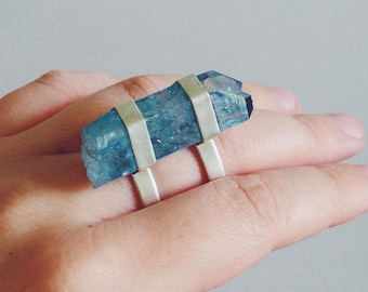 Double Caged Aqua Aura Quartz Ring - Sterling Silver