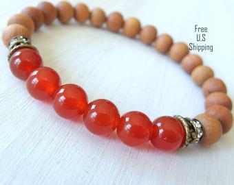 Sacral Chakra, Sandalwood, Carnelian, meditation, yoga bracelet, chakra bracelet, mala beads, sandalwood bracelet, gemstone, Healing, Mala