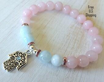 Courage & Protection, Aquamarine bracelet, rose quartz bracelet, hamsa hand bracelet, evil eye bracelet, healing bracelet, talisman, mala