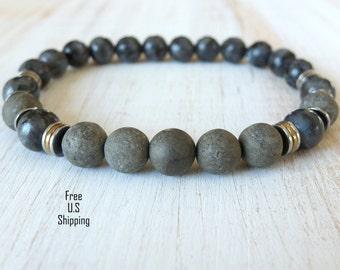 Men's Moonstone, Pyrite bracelet, Healing bracelet,wrist mala, Tribal bracelet, gemstone bracelet, healing, mala, Pyrite bracelet, Lavrikite