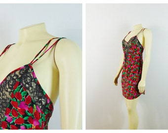 Vintage Nightgown Victoria's Secrets Red Floral Nightie Red Magenta Green Flowers Size S