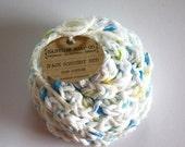 SHOP CLOSING SALE Flower Face Scrubby Set . Set of 3 . Crochet . 100 Percent Cotton . White, Blue, Yellow & Green