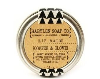 SHOP CLOSING SALE Coffee Clove Lip Balm . Cocoa Butter and Beeswax . 100% Natural Lip Balm . Tin Lip Balm