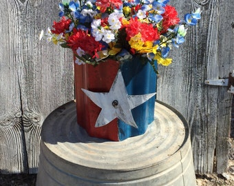 Texas planter - Texas outdoor decor - Texas flag