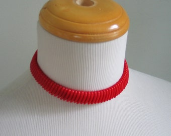 Vintage 1950s Cherry Red Glass Bead Choker Necklace Western Germany
