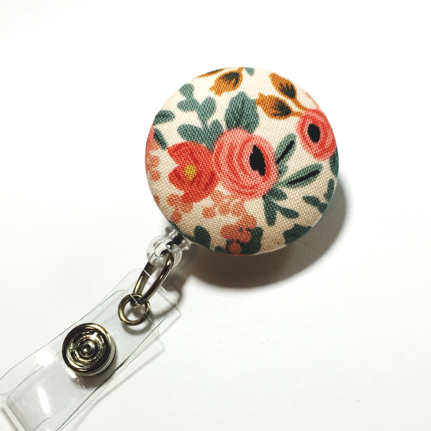 Rifle paper co coral floral badge reel flower id badge holder