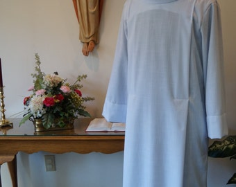 Clergy robe, ALB with COWL collar,  custom made robe for clergy vestment or choir robe. WHITE