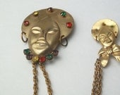 Double Chain Tin 1940's Chatelaine Tribal Heads Asian Design Mom & Baby Rhinestone Costume Jewelry Brooch Pin Gift For Her on Etsy