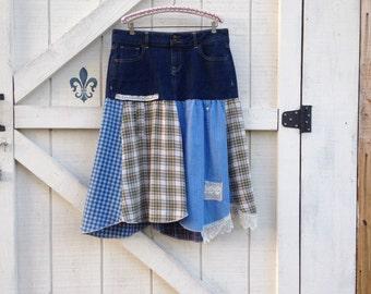 Hippie skirt L, bohemian denim cowgirl plaid, denim rustic Upcycled clothing, Eco fashion