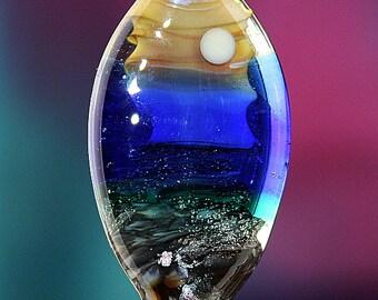 Glittering Sands Handmade Lampworked Glass Bead OOAK Blue Teal Butter Fawn Palladium Shield Focal Lampwork