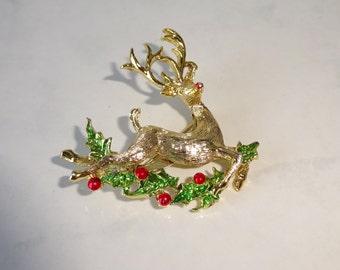 Vintage Reindeer Brooch Gerry's Rudolph Running Reindeer Gold Tone
