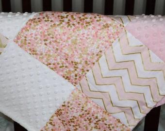 Pink Gold Baby Girl Blanket- Glitz Confection Chevron, Pearlized Chevron, Brambleberry, White Minky, and Blush Minky Patchwork Blanket