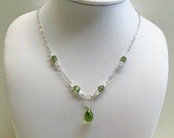 Sterling Silver Peridot Briolette Necklace