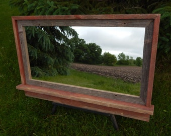 """Barnwood Framed Mirror -  42""""w  x 26""""h  (overall size)"""