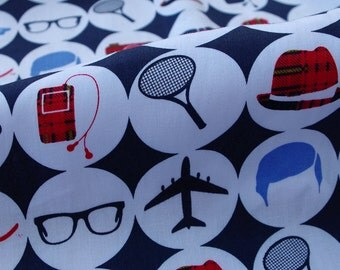 2200 - 1 yard  cotton satin fabric  for sleep wear - plane, car and eyeglasses (widht=140cm)
