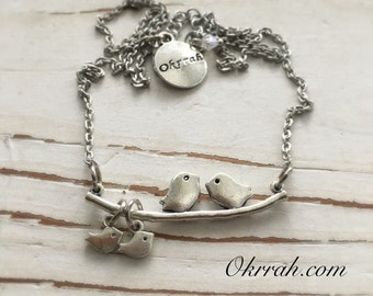 Okrrah Love Bird, Family Necklace with (1-4) SILVER Baby Birds