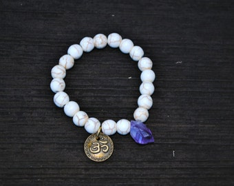 ΔΔ Raw Amethyst OM Charm Bracelet with White Turquoise - Gift Boxed ΔΔ