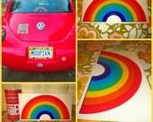 Vintage 1970s Retro Groovy Rainbow NOS Large Car Window Sticker