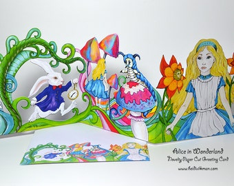 Alice in Wonderland - Illustrated Card - Paper Cut Card - Beautiful Novelty Card - Panorama