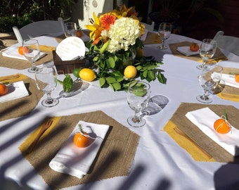 24 Hexagon Burlap Placemats with Yellow Gold Painted Edge Plus FREE Triangle Flags