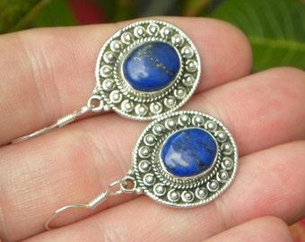 "Blue Lapis Earrings Handmade Lapis Lazuli Earrings Semiprecious Gemstone 1 1/2"" Sterling Silver Earrings Take 20% Off Lapis Lazuli Jewelry"