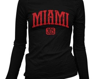 Women's Miami 305 Long Sleeve Tee - LS Ladies T-shirt - S M L XL 2x - Miami Shirt, Florida - 4 Colors