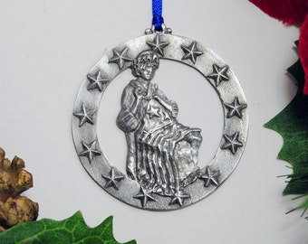 Betsy Ross, Philadelphia Christmas Ornament made from Traditional Fine Pewter in America