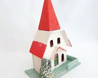 vintage putz house, church, red white, Japan, Christmas decor, Christmas village, miniature house
