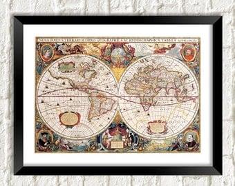 ROMAN MAP PRINT: World Cartography Art Illustration Wall Hanging (A4 / A3 Size)