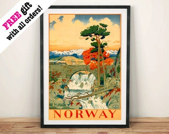 NORWAY TRAVEL POSTER: Vintage Scandinavia Advert Art Print Wall Hanging