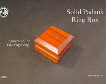 Engagement ring box of solid padauk with free shipping and engraving.