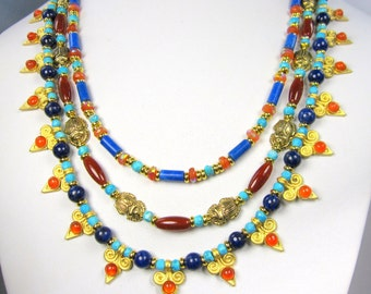 Egyptian Necklace, Egyptian 3 Strand Necklace, with Scarabs,Matte Gold Spikes, Gemstones, Lapis, Carnelian,Turquoise, on Viking Knit Chain