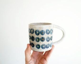 Blue + Gold Polka Dot Mug (Made to Order)
