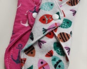 Girls Fish Too anchors & fish Set of 2 Reusable Cloth Liners OR Pads You choose!