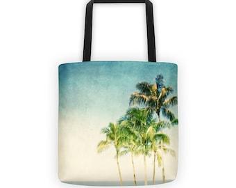 Aqua White Ombre Tote, Retro Tropical Palm Tree Tote for Eco Friendly Reusable ShoppingTote