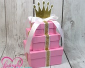 Small 3 Tier Princess Centerpiece, Perfect for Any Event - Pink & Gold - Baby Shower, Birthday Party, Christening, First Birthday