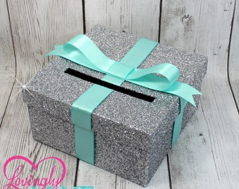 Cardbox -  Glitter Silver and Light Aqua Blue Gift Money Box for Any Event - Baby Shower, Wedding, Bridal Shower, Birthday Party, Sweet 16