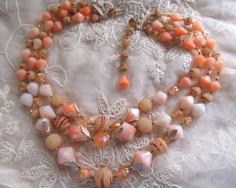 Vintage Yummy 1950's Peach and Champagne Sugar Bead Multi Strand Necklace Beads Hong Kong Vintage Costume Jewelry Summer Jewelry